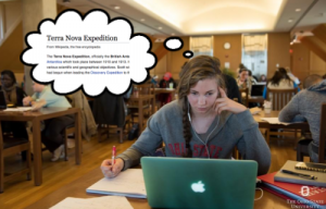 Anna with thought bubble showing Terra Nova Expedition