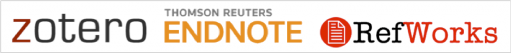 Zotero, Thompson Reuters EndNote, and RefWorks product logos